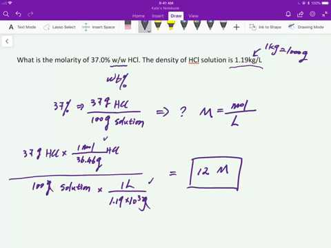 How To Convert 37 W Hcl Molarity Ytical Chemistry