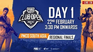 [EN] PMCO South Asia Regional Finals Day 1 | Spring Split | PUBG MOBILE CLUB OPEN 2020