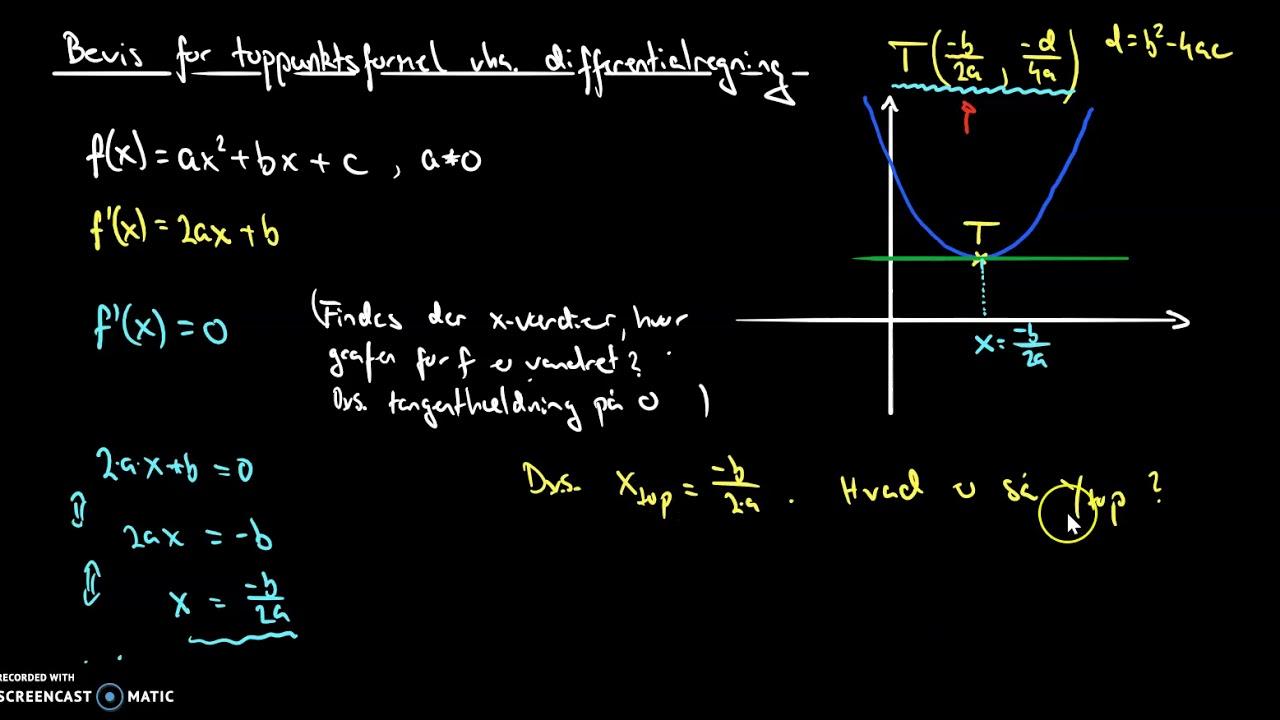 bevis for toppunkt vha differentialregning