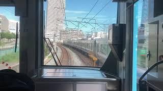 大阪環状線323系普通大阪行きマリオのラッピング車大阪城公園〜京橋までのミニ全面展望シーン