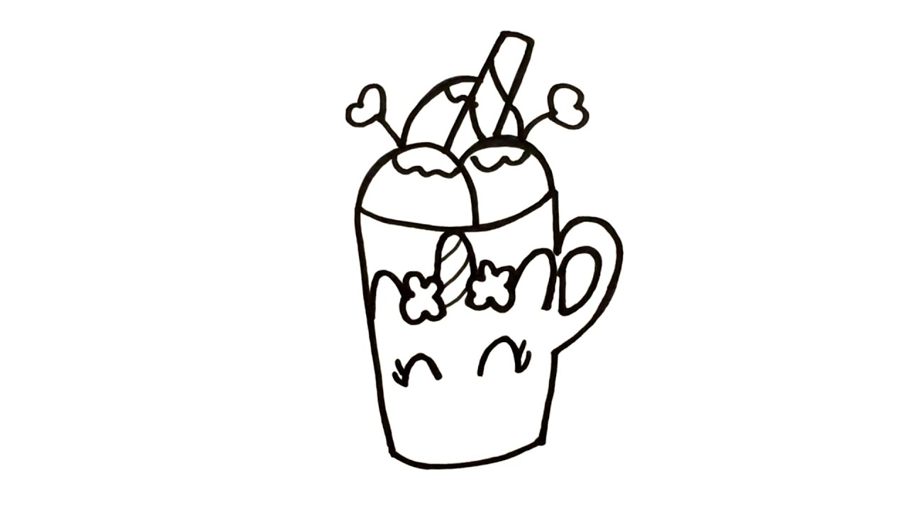 Menggambar & Mewarnai Minuman Es Krim Lucu Untuk Anak