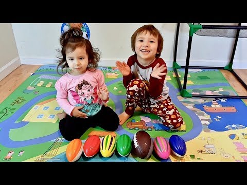 Toddlers Learn Colors with Toy Footballs and Learning Different Sport Ball Names for Children