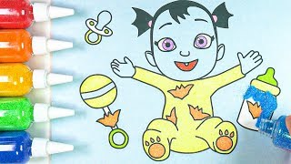 Drawing and Coloring Vampirina Nosy! Learn English for Kids