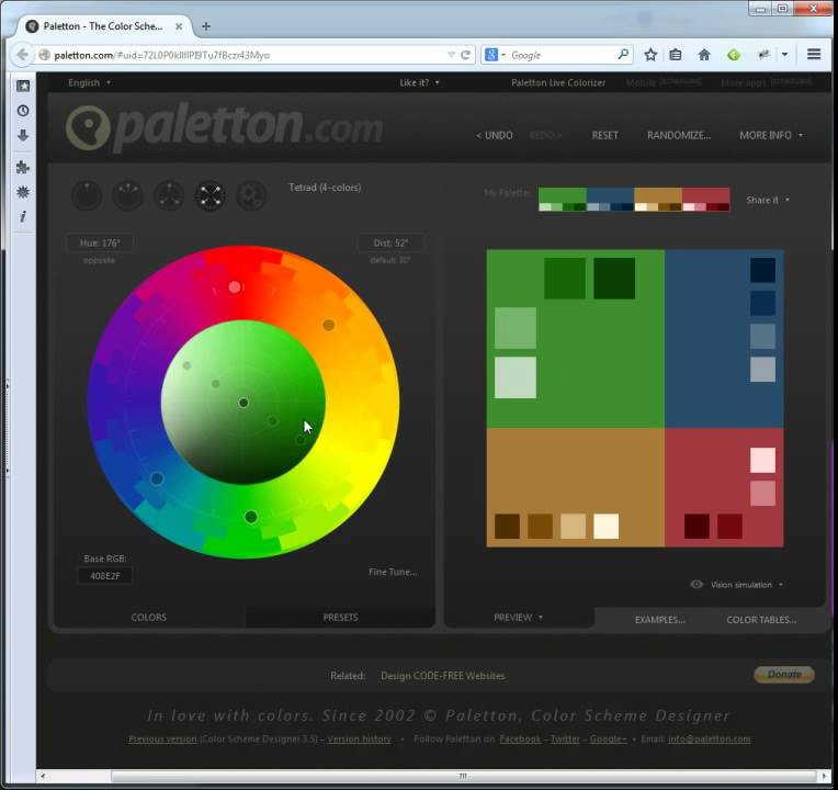 Paletton.com Color Scheme Designer