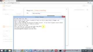 How to create blog on blogger or blogspot 2014 video
