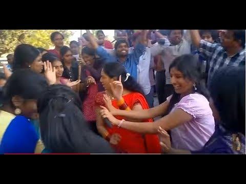 Racha Ramulamma and Anchors Dance at V6 office after Telangana Bill Has been Approved