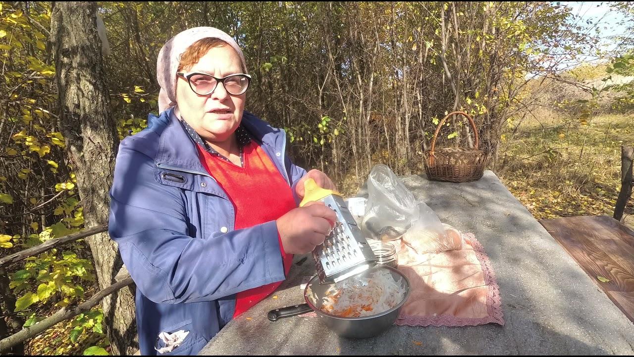 Салат из Редьки+Картошка с Беконом.  Рецепт на природе.