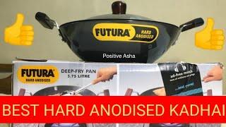 Hawkins Futura Hard Anodized Flat Bottom Kadhai with Steel Lid l Hawkins futura cookware