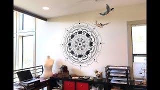 Finally! Drawing a Mandala Mural in my Studio! Mandala Wall Art