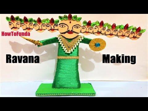 Making ravana for dussehra at home with cardboard | craft ideas | DIY | Dussehra Special | face mask