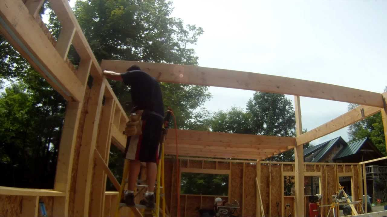 How to install a floor joist alone 30 my garage build for How to build a garage floor