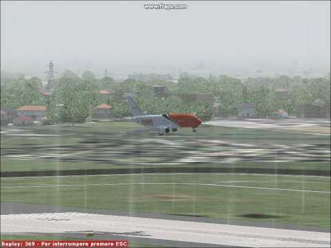 FS9 Landing in MIlan Linate with a 737-500 TNT. BAD weather