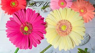 Цветы из фоамирана Гербера Как сделать своими руками / Diy Foam Paper Flowers / Flores de Goma Eva