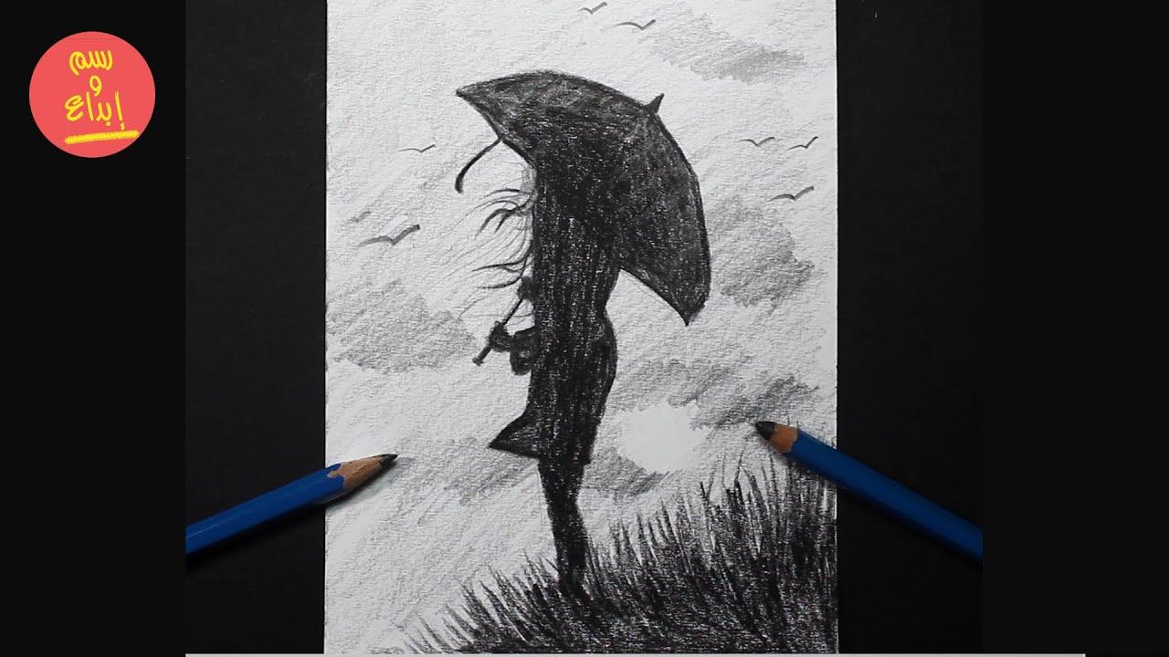 رسم سهل | كيف ترسم فتاة بمضلة| تعليم الرسم بالرصاص