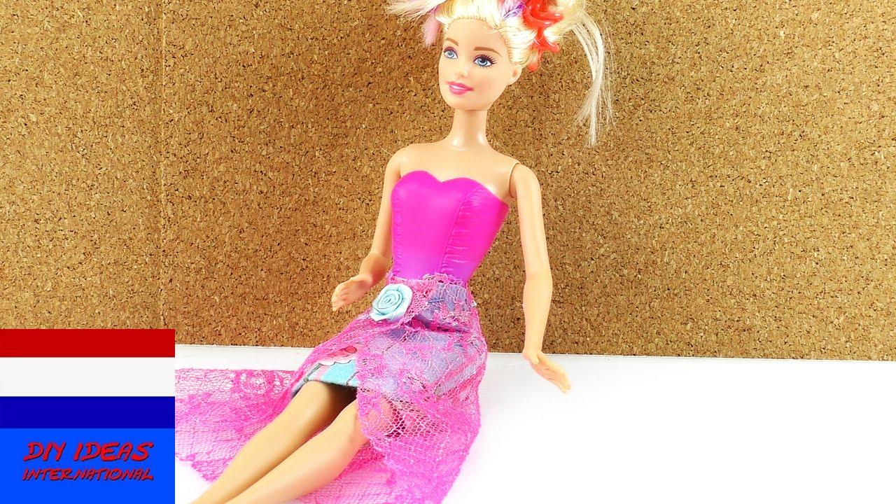 Zelf Rok Maken Voor Barbie Diy Kleding Voor Poppen Youtube