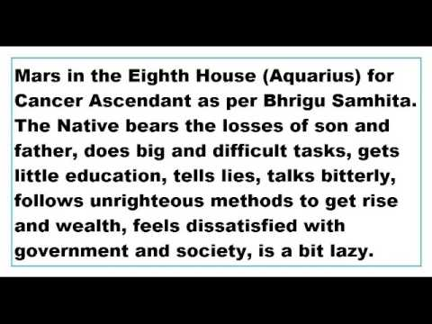 mars in 8th house for Cancer Ascendant as per Bhrigu Samhita