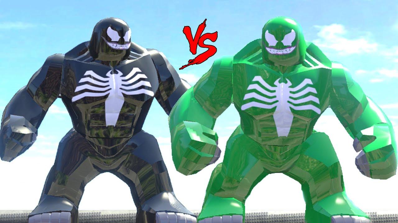 black venom vs green venom lego fight lego marvel super