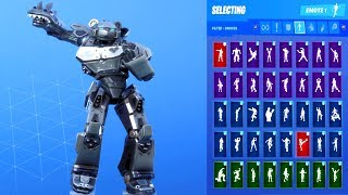 *NEW* Fortnite Stainless Steel Mecha Team Leader Voltron Skin Showcase with All Dances & Emotes