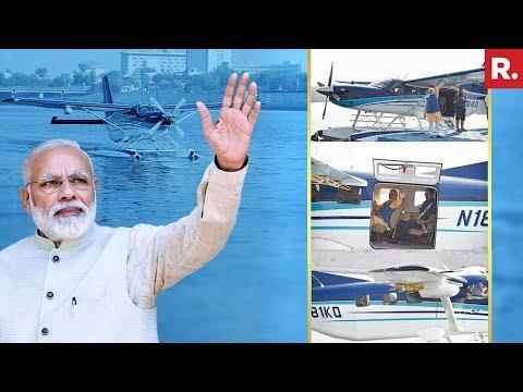 PM Narendra Modi Travels In Seaplane Sabarmati River To Dharoi Dam