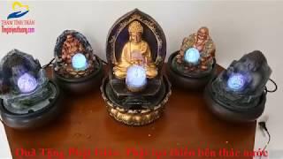Tượng Phật Mini Đức Phật Tọa Thiền Tỏa Ánh Hào Quang Bên Suối Mơ