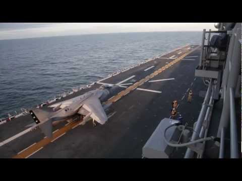 Harrier Lands on Flight Deck of USS Bataan - Great Aerial Footage - 26th Marine Expeditionary Unit