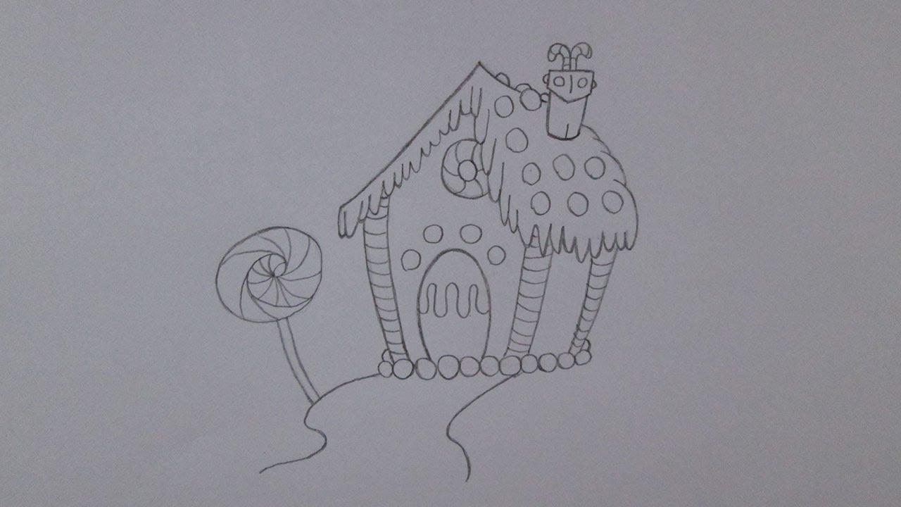 Cómo dibujar una casa de pan de jengibre - YouTube