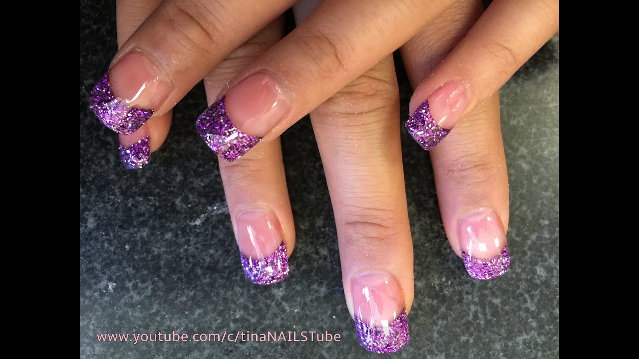 Acrylic Nails Purple Glitter Tips Part 1 Youtube