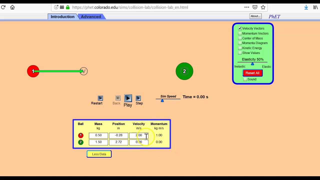 PHET Collision Lab How-to - YouTube