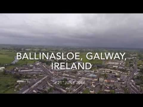 Ballinasloe, Galway, Ireland - *HD* 4K aerial footage over fair green and town
