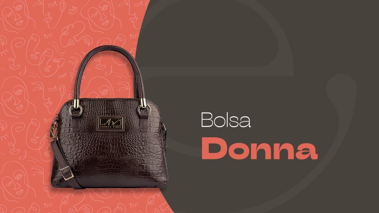 d83e8873eeac2 Bolsa de mão Donna em couro preta - Enluaze | Bolsas e acessórios de couro