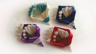 Бутоньерка для гостей на свадьбу,  брошь канзаши из лент, Мк / Boutonniere for wedding