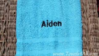 Embroidered Personalized Colored Bath Towel for Girls and Boys Bathroom - video demo