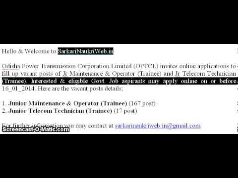 OPTCL, Jr Maintenance & Operator, Jr Telecom Technician Jobs