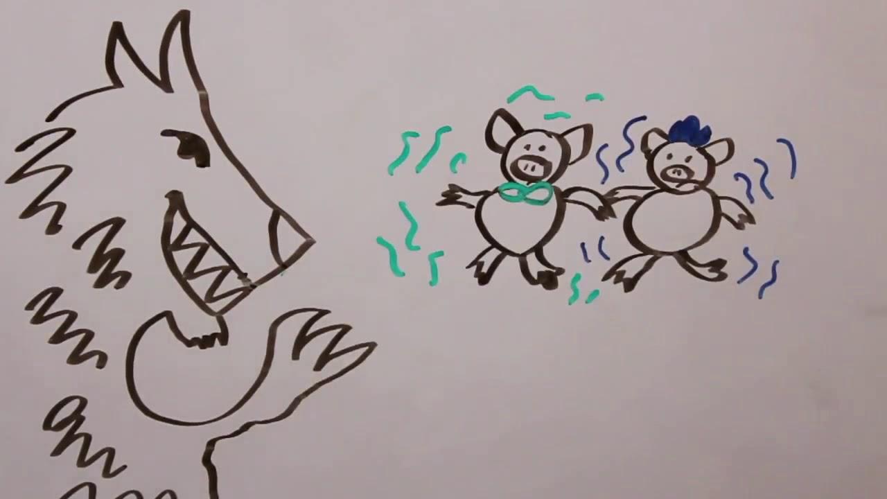 EL lobo y los tres cerditos . historias español . Cuentos infantiles #1