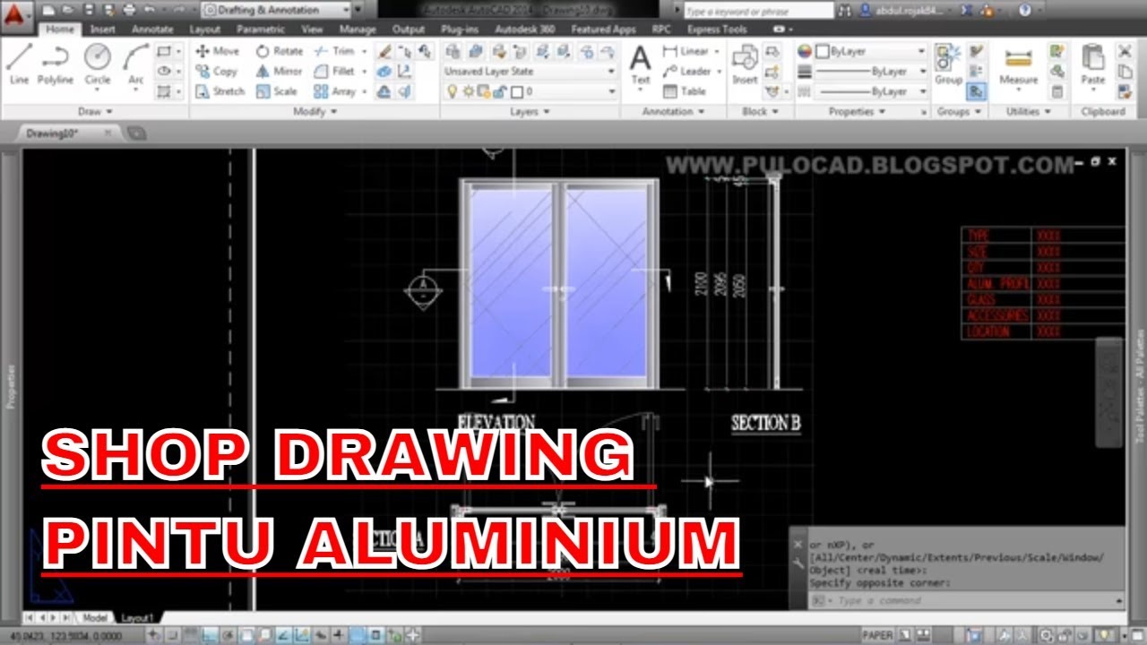 Shop Drawing Aluminium Door Youtube