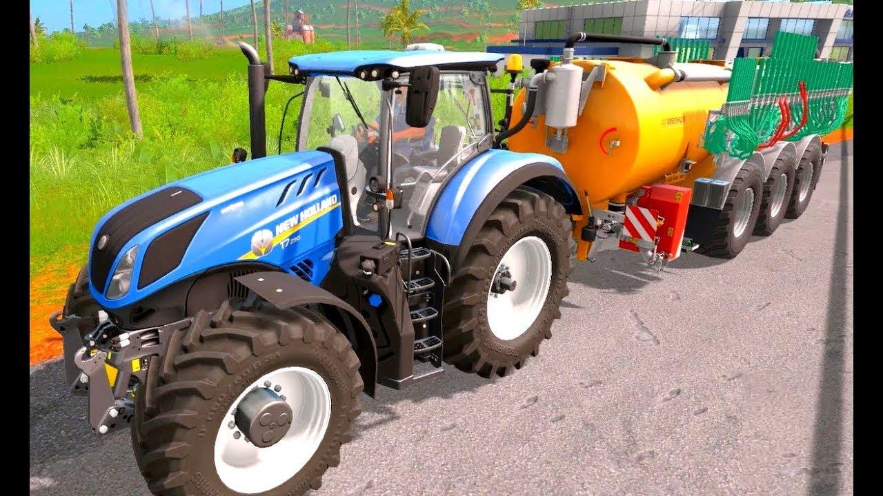 Trecker Trickfilm Traktor Zeichentrick Für Kinder Und Lastzug