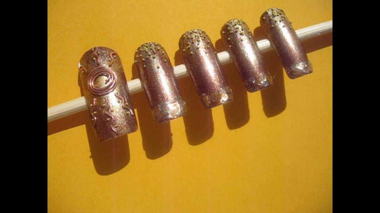 Real Copper Wire Summer Beach Sun Nail Art by GettingNailed - YouTube