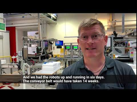 Robots beat conveyor