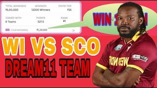 WI VS SCO WORLD CUP QUALIFIER | DREAM11 TEAM | THINK BIG WIN BIG Video