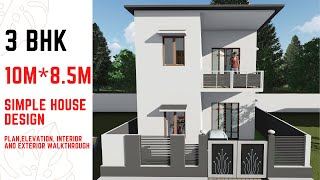 Small House Design Plan 10mx8.5m With 3 Bedrooms