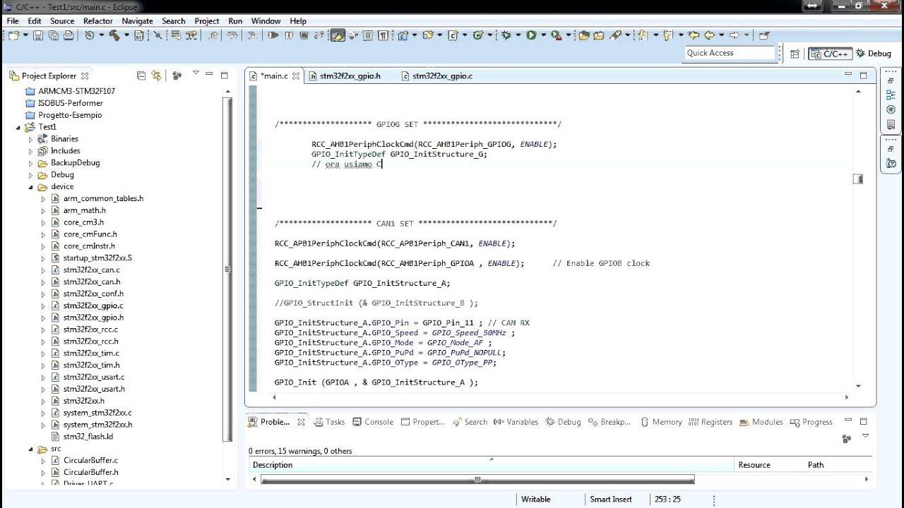 Eclipse STM32F GPIO Configuration on