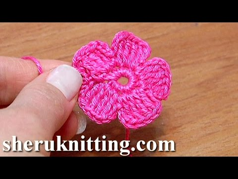 Crochet Small Five-Petal Flat Flower Tutorial 28 Part 2 of 2 Come fiori all'uncinetto