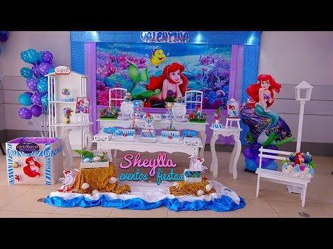Decoración Temática De La Sirenita Fiesta Infantil De Ariel Niñas