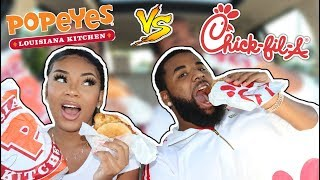 POPEYES vs CHICK-FIL-A!! WHICH CHICKEN SANDWICH IS BETTER? (HILARIOUS)