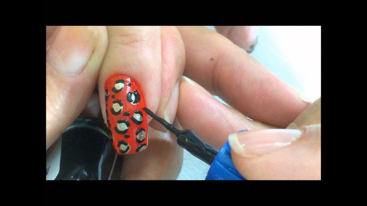 como hacer decorado en uas en animal print en color rojo y dorado olnail youtube - Animal Pictures Print Color