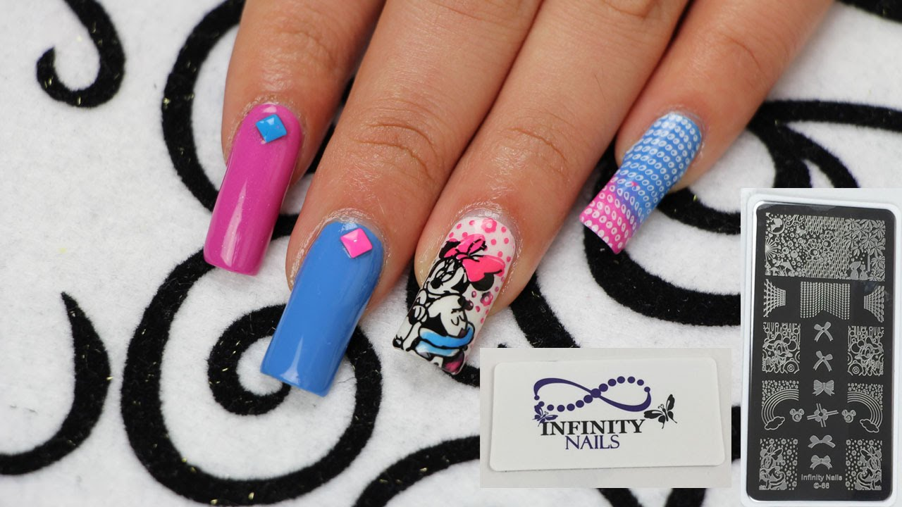 Infinity Nails 66 Mickey and Minnie Mouse Nail Stamping Tutorial ...