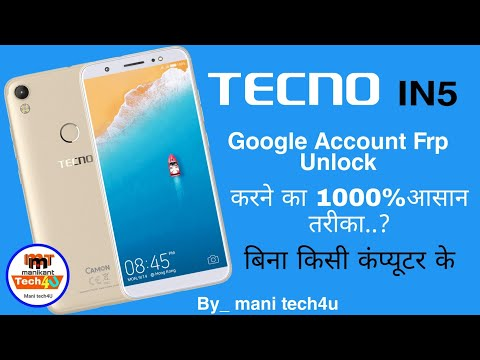 Tecno in5 Google account FRP unlock 100% esey without any pc