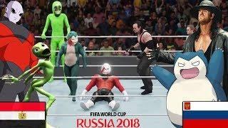 """Jiren y Dame tu Cosita VS Undertaker y Snorlax"" - RUSIA vs EGIPTO - (WWE Mundial Rusia 2018)"