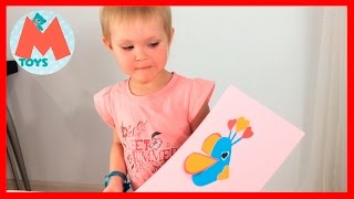 ❤ Маша делает аппликацию, птичка из бумаги, подарок своими руками Видео для детей