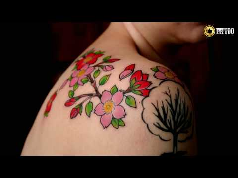 Best Beautiful Cherry Blossoms Tattoo Design Idea
